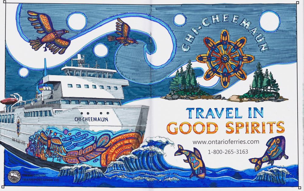 ms chi-cheemaun ontario ferries boats manitoulin coloring book adult owen sound transportation